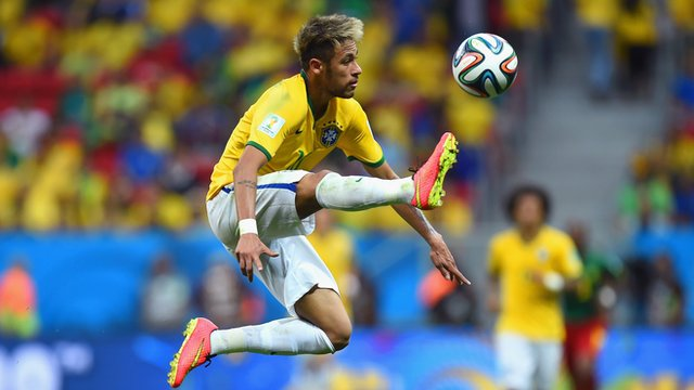 Neymar controlling the ball against Cameroon