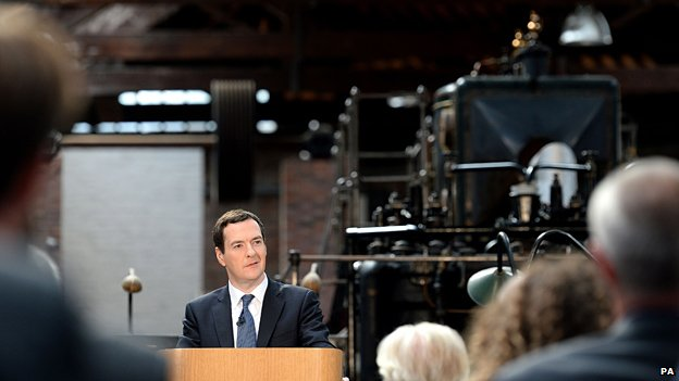 George Osborne gives a speech in Manchester about the prospects for northern England