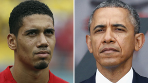 Composite image of Chris Smalling and Barack Obama