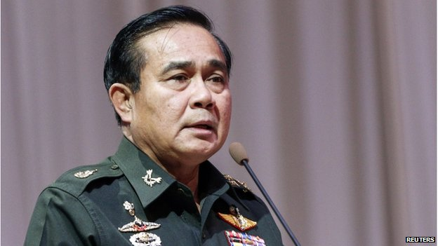 Thai Army chief General Prayuth Chan-ocha speaks at a meeting to discuss the 2015 national budget, at the Army Club in Bangkok on 13 June 2014.