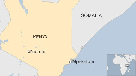 Map showing Mpeketoni in Kenya