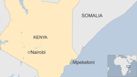 Map showing Mpeketoni in Kenya