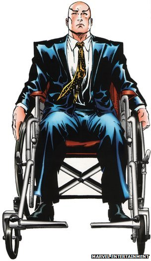 Professor X sitting in his wheelchair