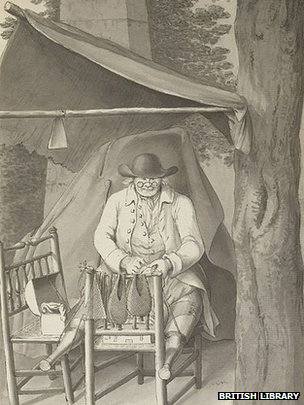 A painting of a cobbler with two prosthetics legs painted in 1789