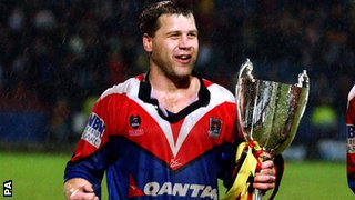 James Lowes celebrates after Bradford Bulls beat Newcastle Knights in the 2002 World Club Challenge