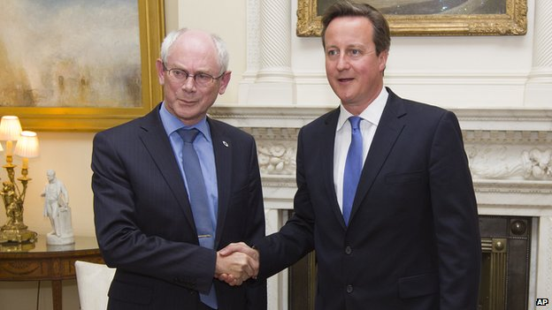 European Council President Herman Van Rompuy (left) with UK PM David Cameron