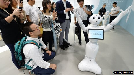 Humanoid robot 'Pepper', jointly developed by Japan's mobile carrier SoftBank