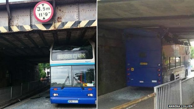 Bus under bridge