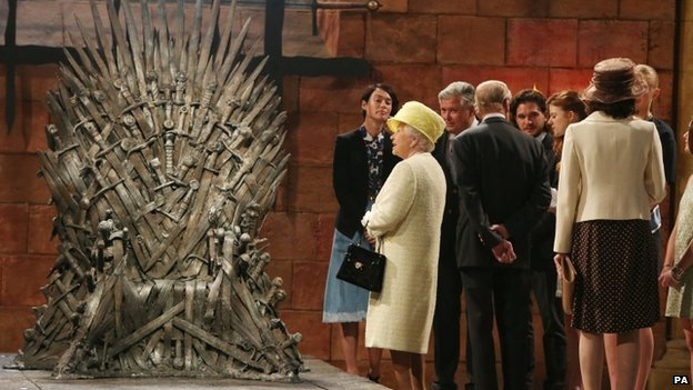 The Queen was presented with a miniature version of the Iron Throne, which features in Game of Thrones, before leaving