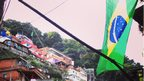Brazil flag in favela