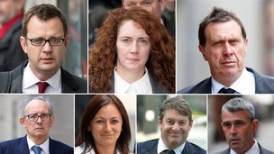 Andy Coulson, Rebekah Brooks, Clive Goodman, Stuart Kuttner, Cheryl Carter, Charlie Brooks, Mark Hanna