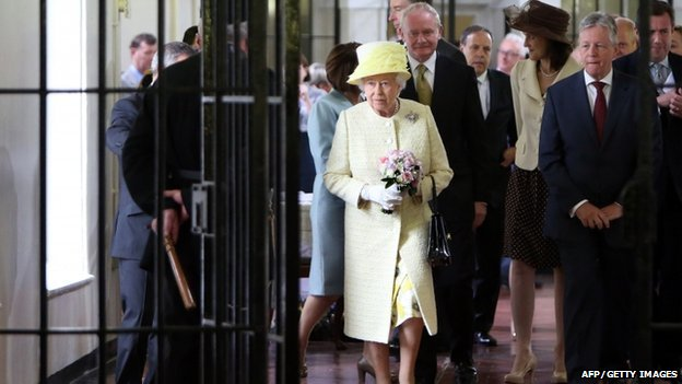 The Queen and Prince Philip were accompanied on a tour of C wing by Mr Robinson and Mr McGuinness