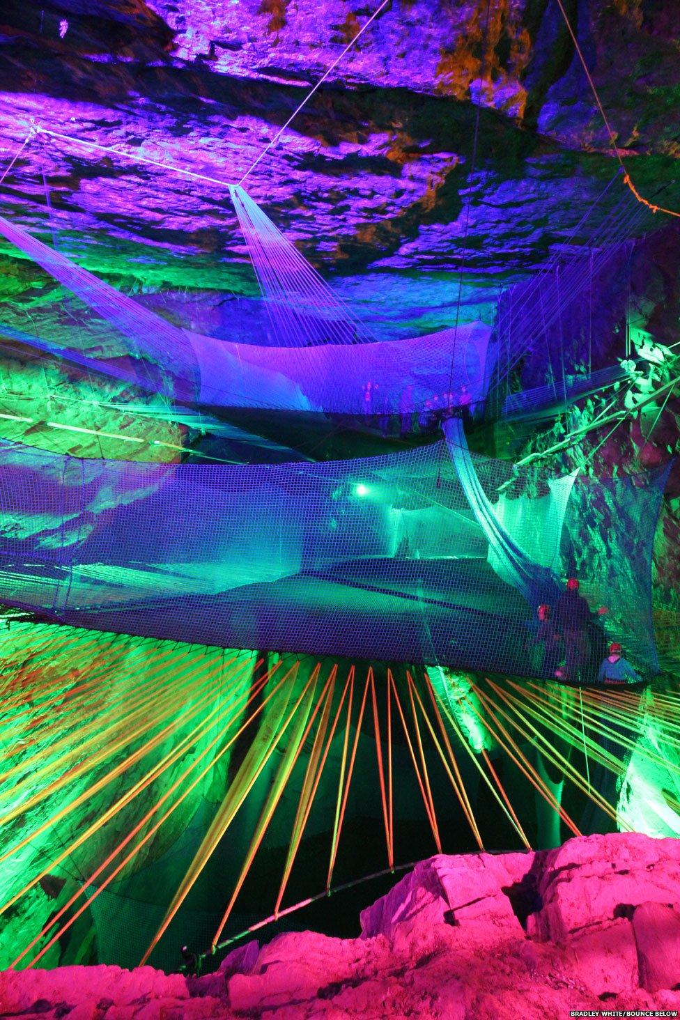 Bounce Below at Llechwedd slate caverns, Blaenau Ffestiniog