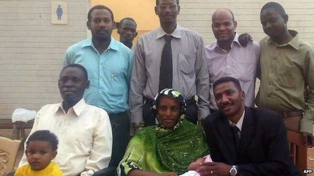 Meriam Ibrahim with her husband (L), children and legal team after her release in Khartoum on 23 June 2014