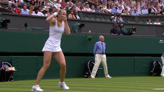 Israel's Julia Glushko looks stunned after hitting the umpire