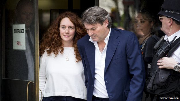 Rebekah and Charlie Brooks leaving court on 24 June 2014
