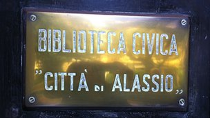 Sign identifying the library