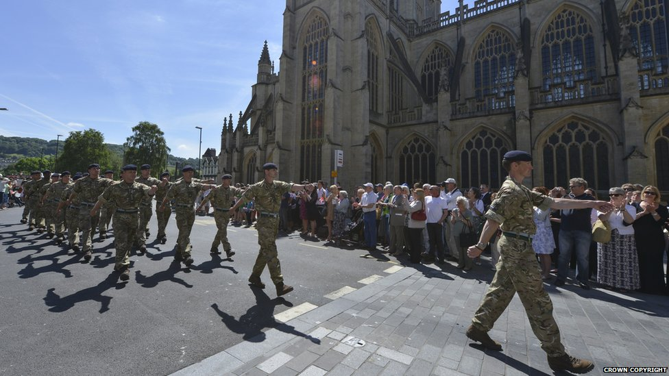 Soldiers from the 21st Signal Regiment on parade through Bath