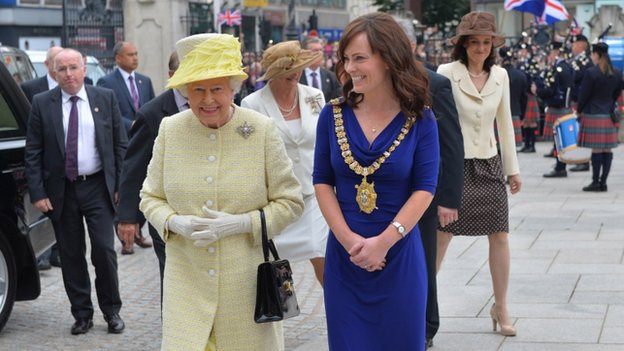 The Queen was welcomed to the city hall by Belfast's Lord Mayor Nicola Mallon