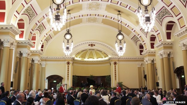Guests at the city hall dined on Ulster beef on a bed of Comber potatoes with spinach, mushrooms, a pastry fleuron and a rich Madeira sauce