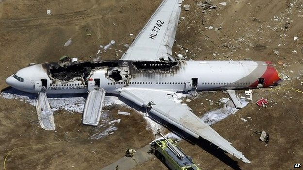 file photo, the wreckage of Asiana Flight 214 lies on the ground after it crashed at the San Francisco International Airport in San Francisco 6 July 2013