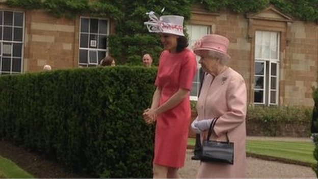 The Queen was accompanied by Northern Ireland's Secretary of State Theresa Villiers to the garden party at Hillsborough Castle