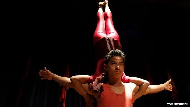 Bijaya Limbu performs with Kathmandu Circus