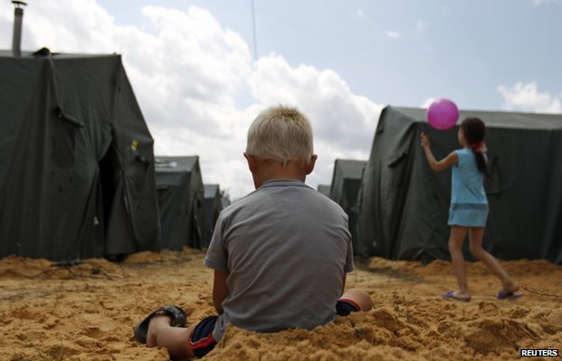 Children play at tent camp in Rostov region in Russia (22 June)