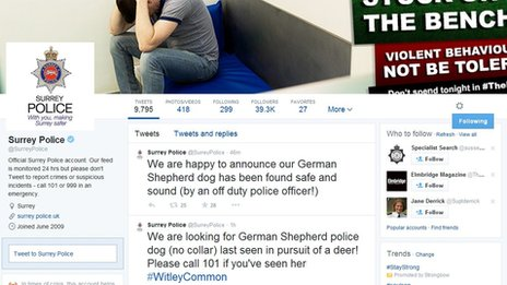 Police dog Twitter appeal
