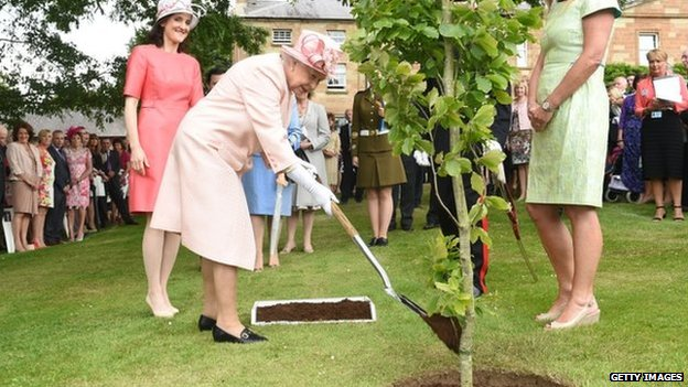 The Queen planted a tree in the grounds of Hillsborough Castle to commemorate her visit