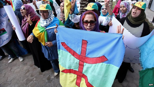 Libyan Amazigh Berbers protest outside the prime minister's office in Tripoli on 27 November 2011 in support of moves seeking Berber representation in the government.