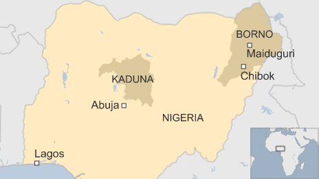 Map of Nigeria showing Borno and Kaduna states
