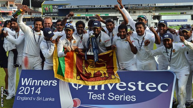 Sri Lanka celebrate with the Test series trophy