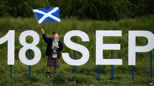 Scottish flag and 18 September sign