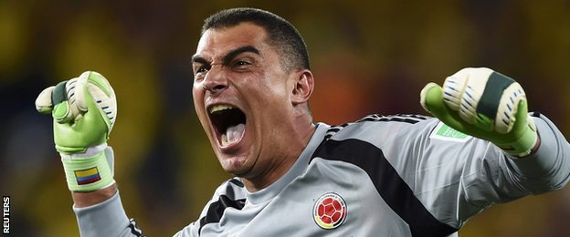 Colombia keeper Faryd Mondragon came on to become the oldest player at a World Cup finals
