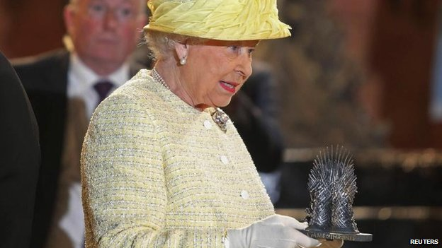 The Queen was presented with a miniature version of the Iron Throne