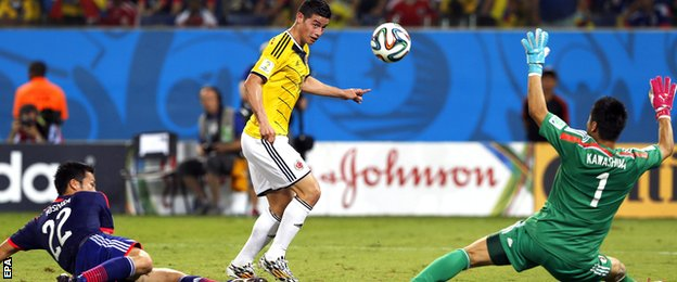 Colombia playmaker James Rodriguez scores against Japan