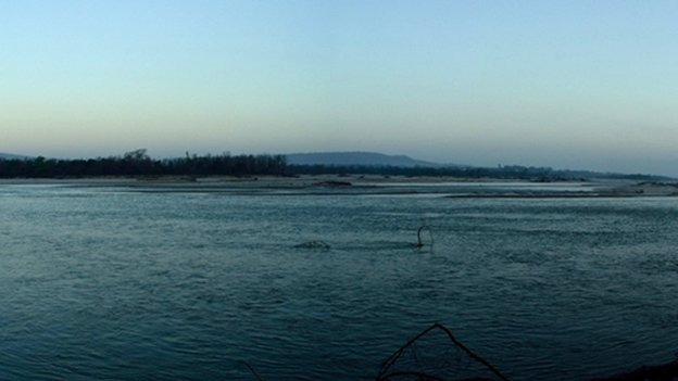 The Ganges near Haridwar after release of dam water upstream on 9 April 2014.