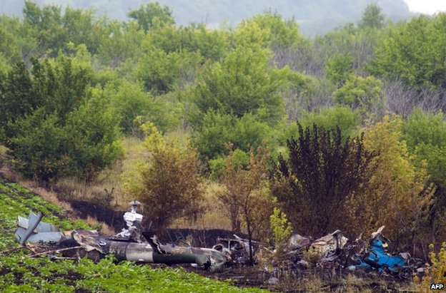 The wreckage of a Ukrainian helicopter downed near Sloviansk on 24 June