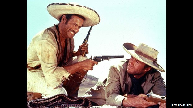 Eli Wallach with Clint Eastwood in The Good, the Bad and the Ugly