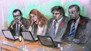 Andy Coulson, Rebekah Brooks, Charlie Brooks and Mark Hanna in court