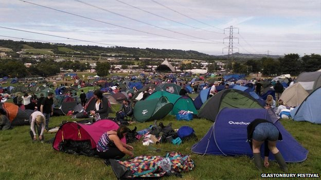 Glastonbury ticket-holders pitch their tents