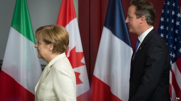 UK Prime Minister David Cameron and German Chancellor Angela Merkel at the G7 Summit held at the EU headquarters in Brussels, Belgium, 5 June 2014