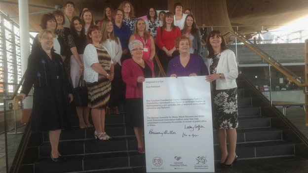 Ellen ap Gwynn, Rosemary Butler and Lesley Griffiths with the joint statement