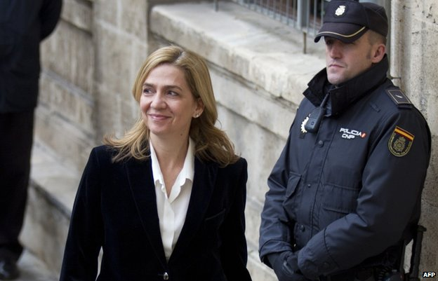Princess Cristina outside court in Mallorca in February