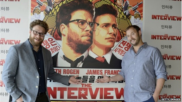 Seth Rogen (left) and Evan Goldberg pose during a photocall for their latest film The Interview at the Hotel Mandarin on 18 June 2014 in Barcelona, Spain.