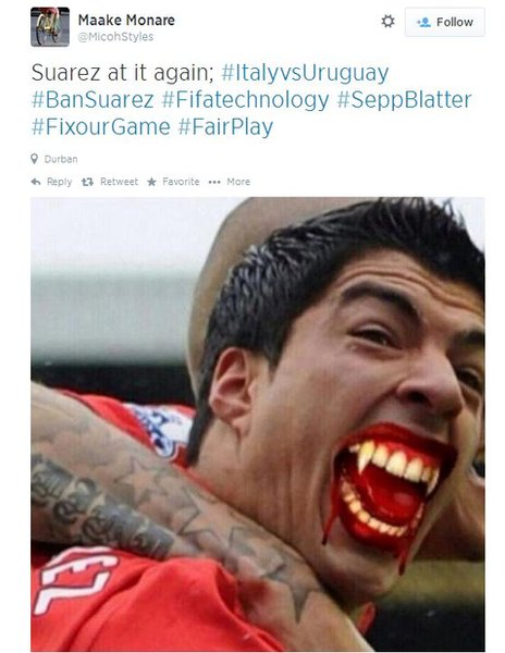 A tweet showing Suarez with vampire fangs