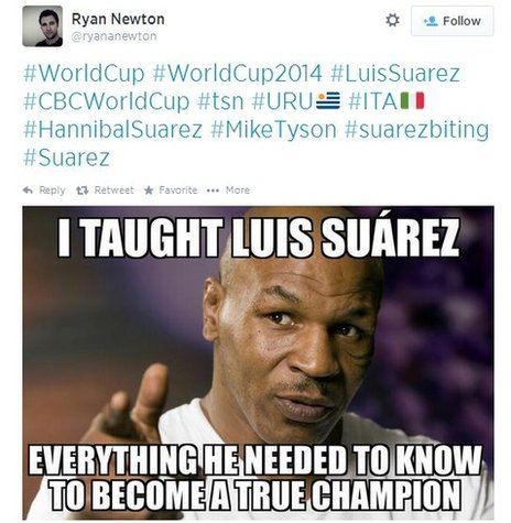 "A tweet with an image of Mike Tyson which reads: ""I taught Luis Suarez everything he needed to know to become a true champion"