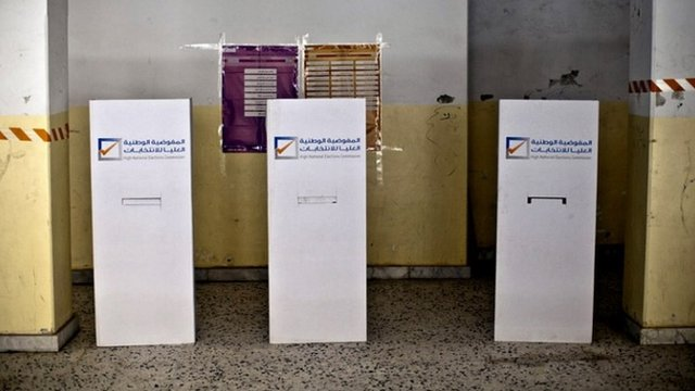 "Photo released by the United Nations Support Mission in Libya (UNSMIL), shows an empty polling station during the parliamentary elections preparations at al-Khansa Girls"" School in Tripoli, Libya"