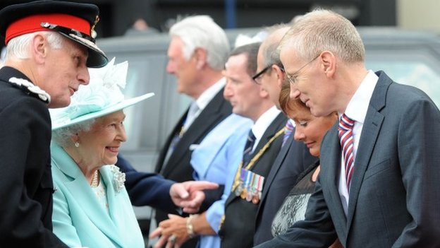 The Queen was introduced to East Londonderry MP Gregory Campbell